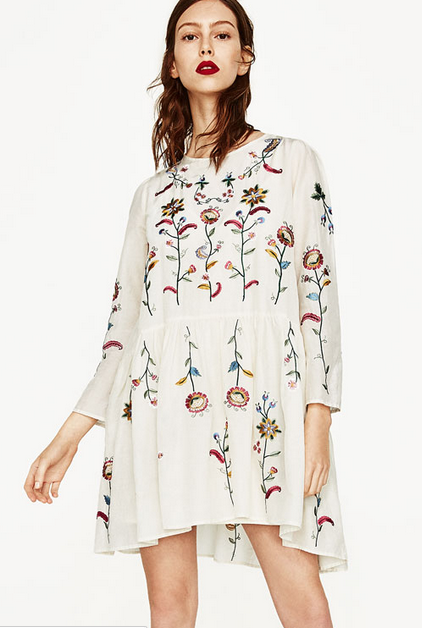 robe zara blanche fleurs